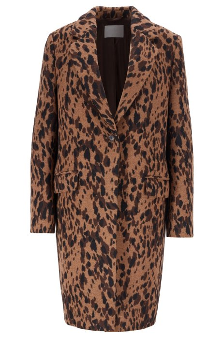 Regular-fit blazer-style coat in animal jacquard, Patterned