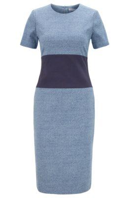 Short-sleeved dress with irregular chessboard pattern, Patterned