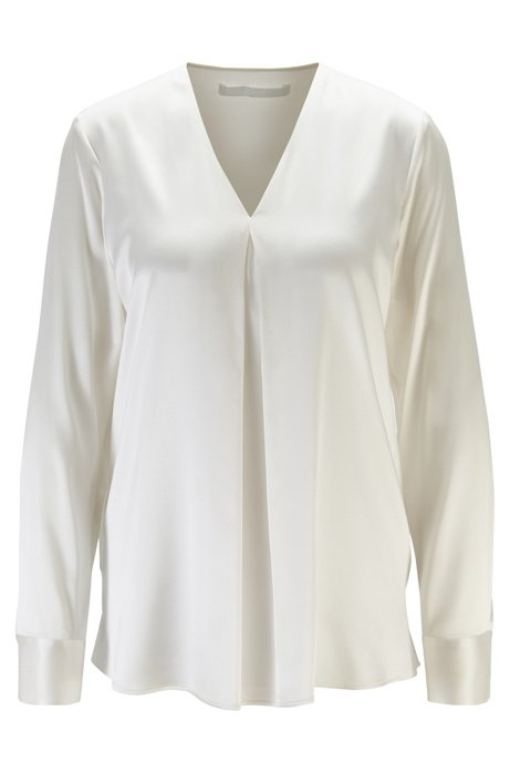 Relaxed-fit blouse in silk satin with stretch, Natural
