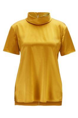Mock neck top in stretch-silk satin, Dark Yellow