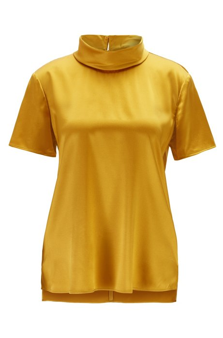 Mock neck top in stretch-silk satin, Dark Yellow