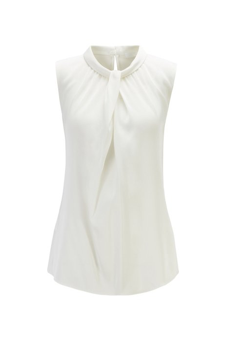 Sleeveless top in stretch silk with neckline detailing, Natural