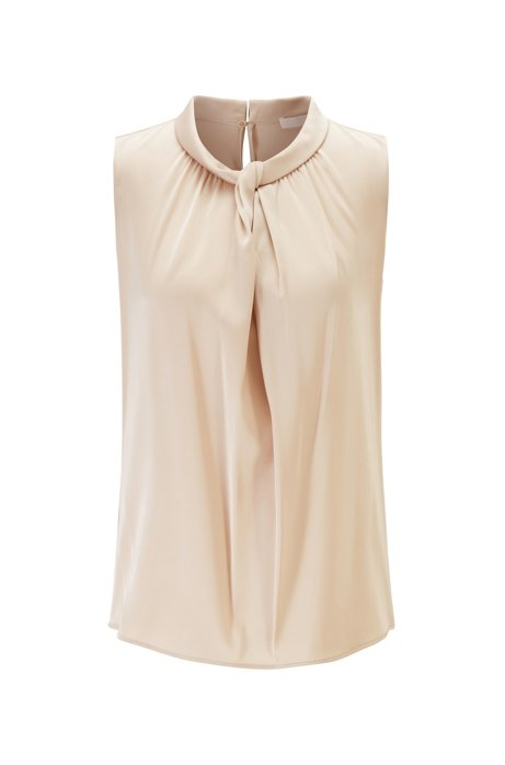 Sleeveless top in stretch silk with neckline detailing, Open Beige