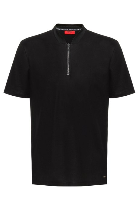 Slim-fit polo shirt with bomber-style zipper neck, Black
