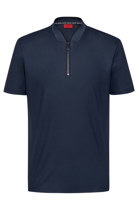 Slim-fit polo shirt with bomber-style zipper neck, Dark Blue