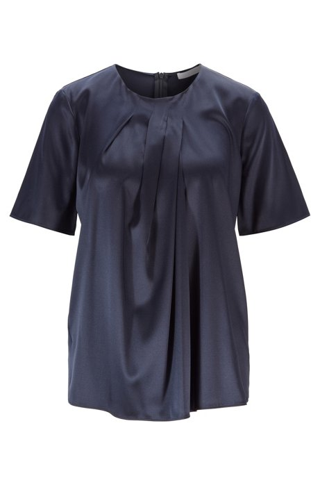 Regular-fit top with pleated neckline in stretch silk, Open Blue