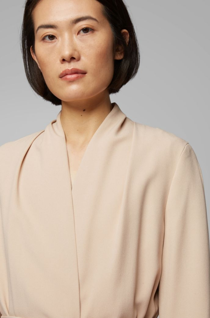 Belted coat in satin-back crepe with draped collar