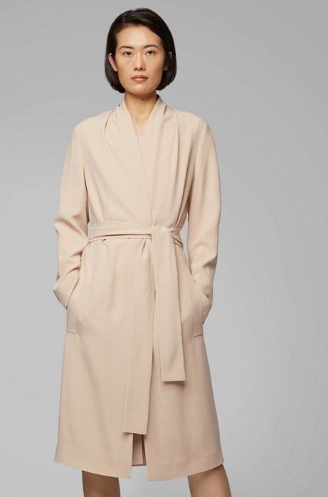 Belted coat in satin-back crepe with draped collar, Open Beige