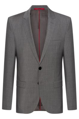 Extra-slim-fit jacket with two-way stretch, Dark Grey