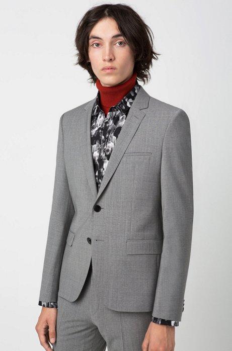 Extra-slim-fit jacket with two-way stretch, Dark Grey