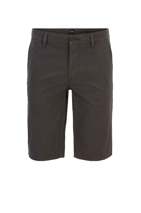 Slim-fit chino shorts in overdyed stretch cotton, Charcoal