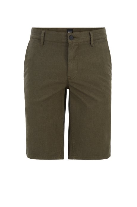 Slim-fit chino shorts in overdyed stretch cotton, Dark Green
