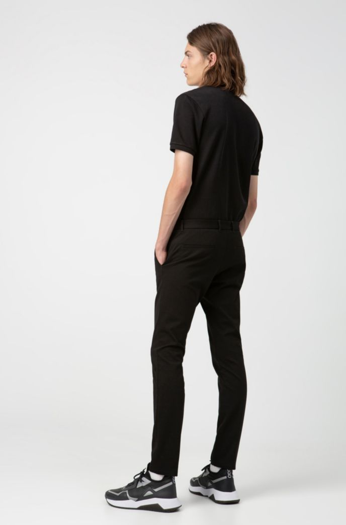 Extra-slim-fit pants in melange jersey with stretch