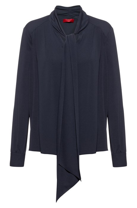 Bow-neck top in stretch crinkle crepe, Dark Blue