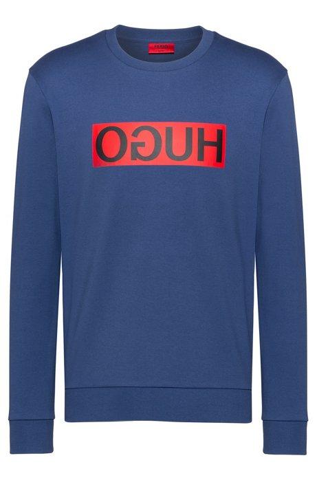 Regular-fit sweatshirt with reverse-logo print, Blue