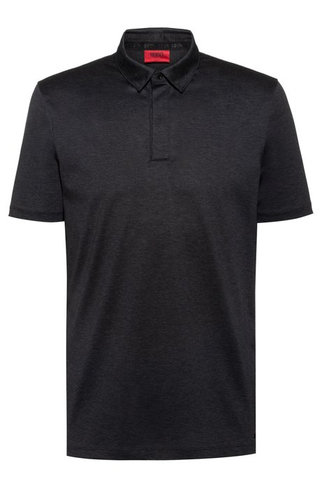 Slim-fit polo shirt with bolt-shaped button, Charcoal