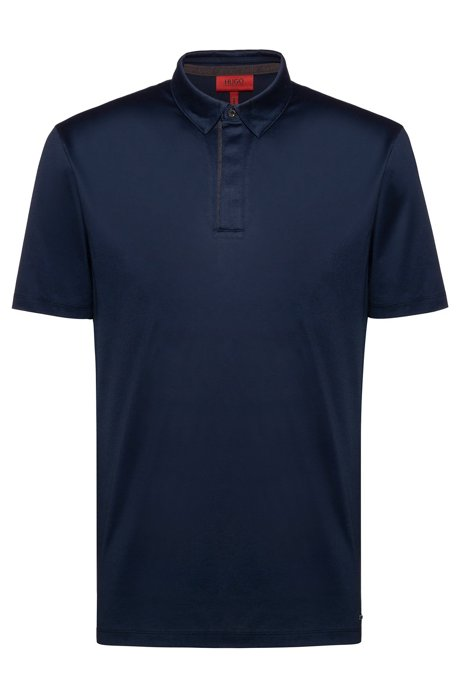 Slim-fit polo shirt with bolt-shaped button, Dark Blue