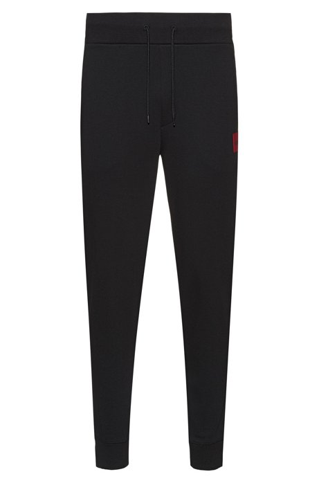 Regular-fit jogging pants in pure cotton, Black