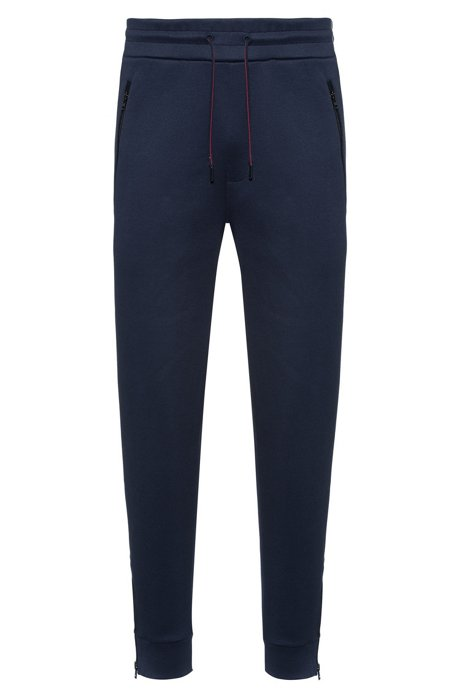 Regular-fit jogging pants in cotton with zipped hems, Dark Blue