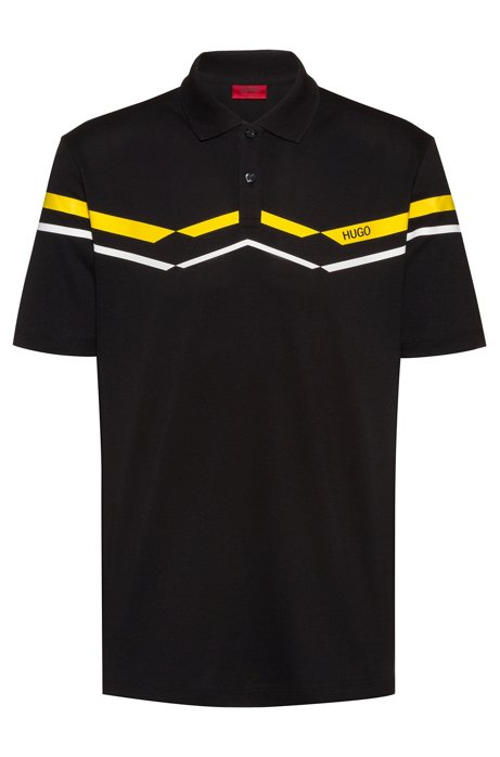 Polo shirt in knitted cotton piqué with chevron stripes, Black
