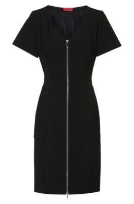 V-neck short-sleeved dress with front zipper, Black