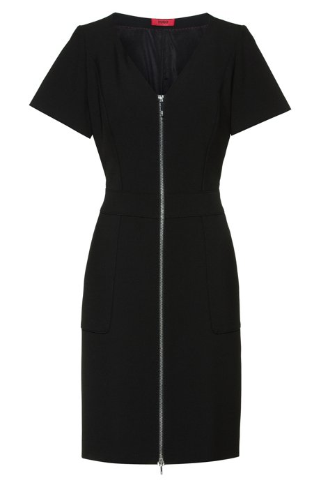 V-neck short-sleeved dress with front zipper, Black