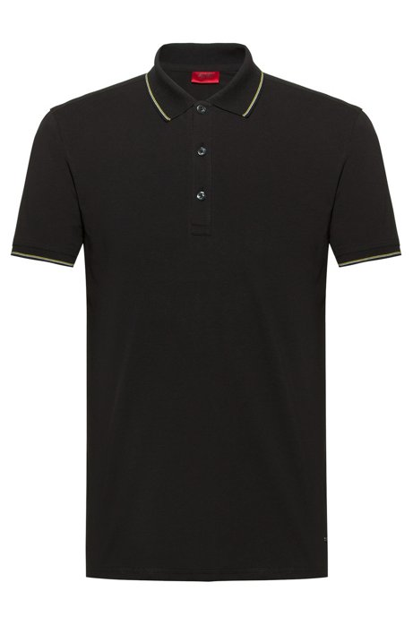 Slim-fit polo shirt in baby piqué with tipping stripes, Black