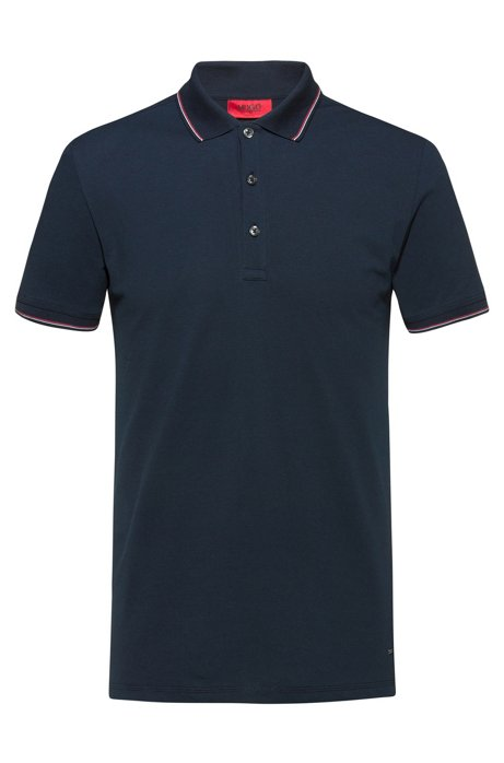 Slim-fit polo shirt in baby piqué with tipping stripes, Dark Blue