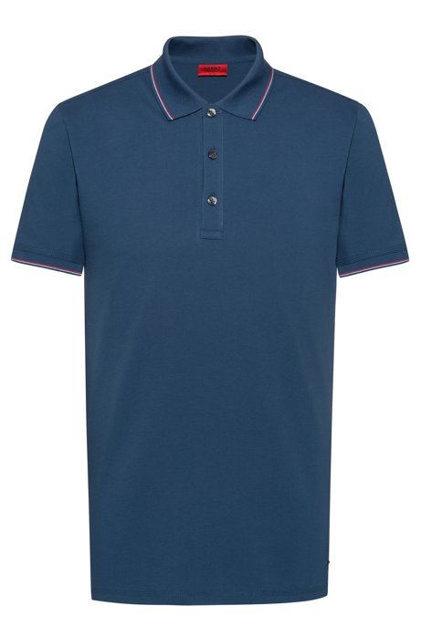 Slim-fit polo shirt in baby piqué with tipping stripes, Blue