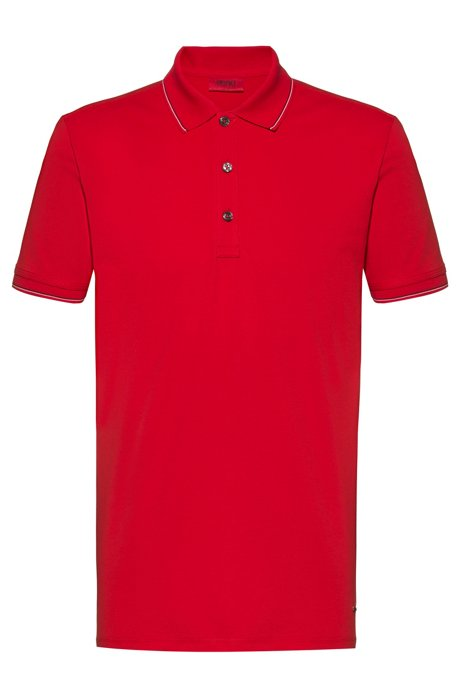 Slim-fit polo shirt in baby piqué with tipping stripes, Open Pink