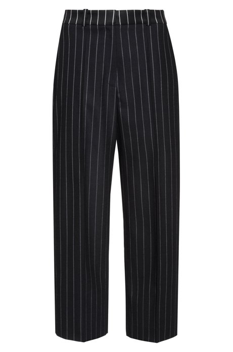 Cropped wide-leg pants in pinstripe fabric, Black