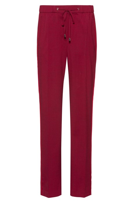 Regular-fit pants with drawstring waist and side stripes, Dark Red