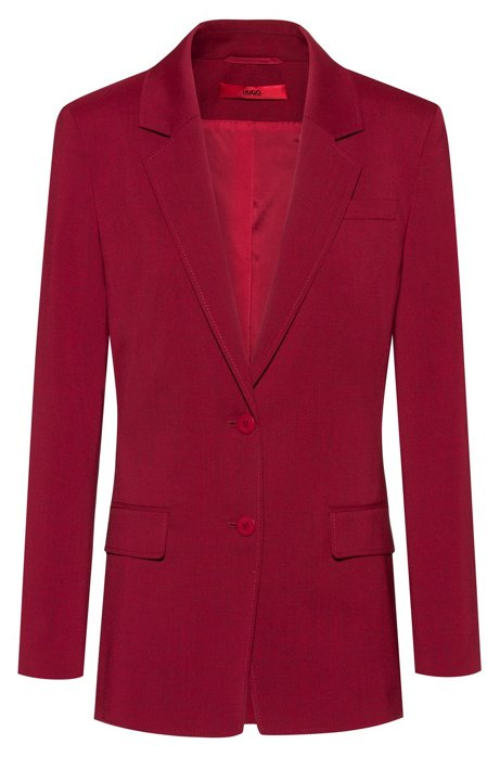 Regular-fit jacket in stretch wool with tonal undercollar, Dark Red