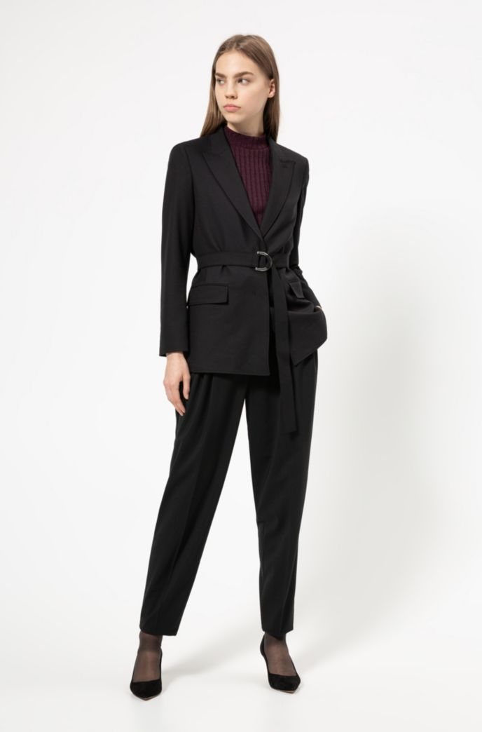 Regular-fit jacket in midweight crepe with belt