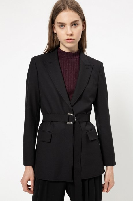 Regular-fit jacket in midweight crepe with belt, Black