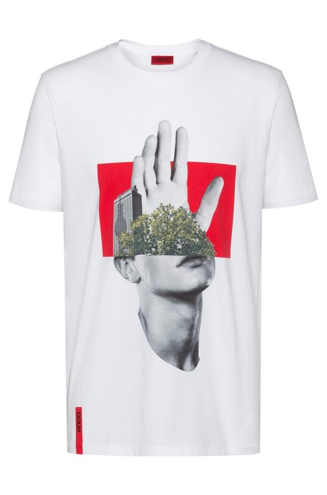 Regular-fit T-shirt in cotton with photographic print , White