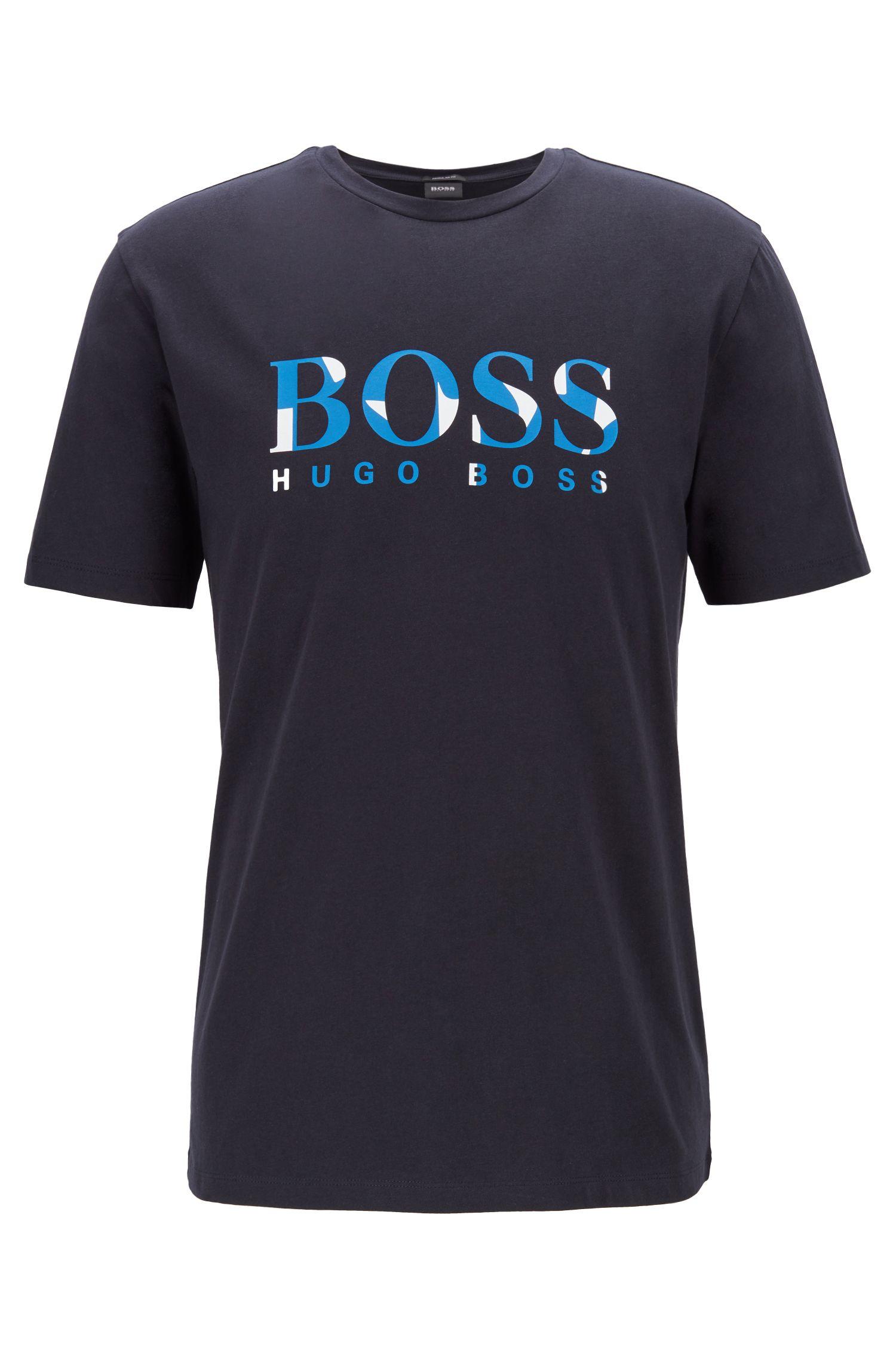 Crew-neck T-shirt in cotton with floral logo print, Dark Blue