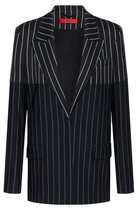 Regular-fit jacket with mixed vertical stripes, Black