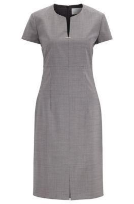 Short-sleeved dress in patterned virgin wool with notch neckline, Patterned