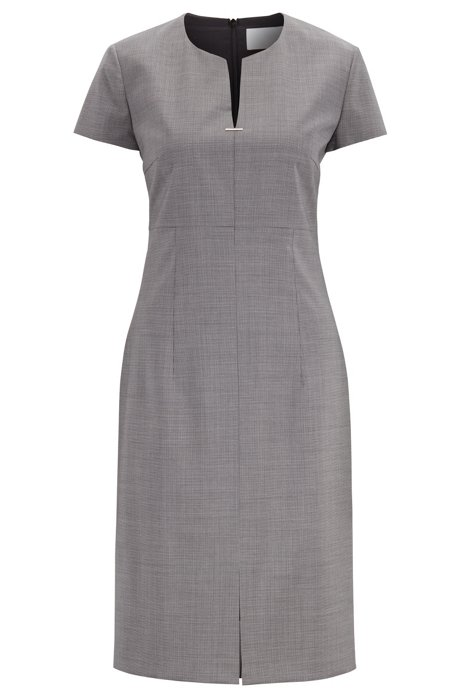Short-sleeved dress in patterned virgin wool with notch neckline, Patterned