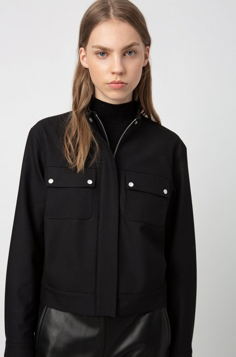 Regular-fit jacket in stretch crepe with concealed closure, Black