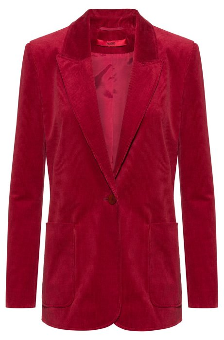 Regular-fit jacket in stretch-cotton corduroy, Open Red