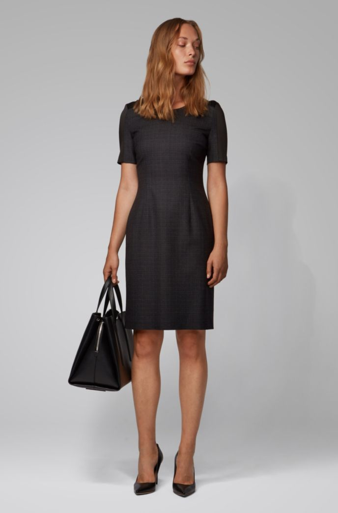 Two-tone shift dress in virgin wool with contrast insert