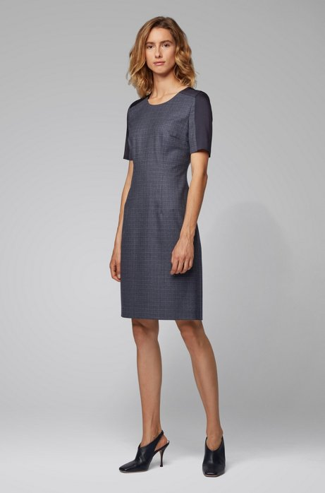 Two-tone shift dress in virgin wool with contrast insert, Patterned