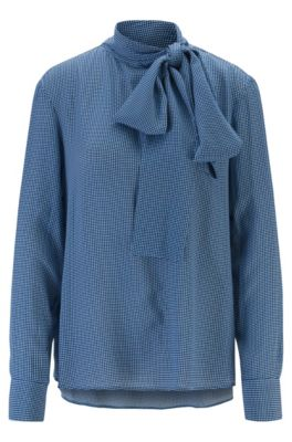 Diamond-print blouse in crepe with tie neck, Patterned