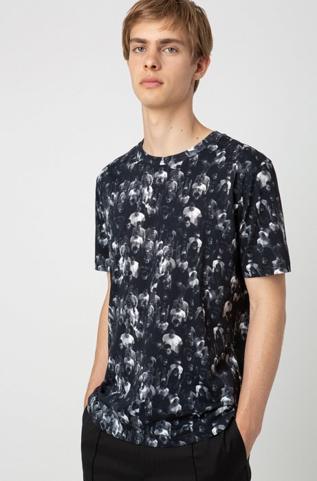 Relaxed-fit T-shirt in cotton with crowd print, Black