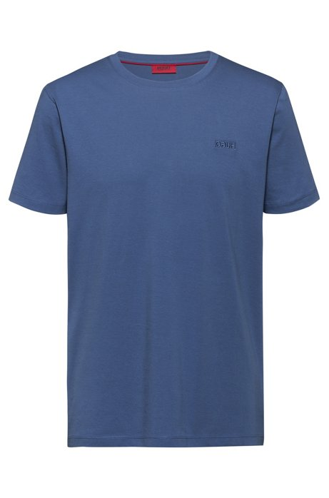 Regular-fit T-shirt with reverse-logo embroidery, Blue