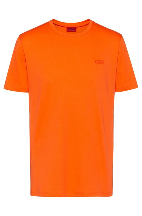 Regular-fit T-shirt with reverse-logo embroidery, Orange