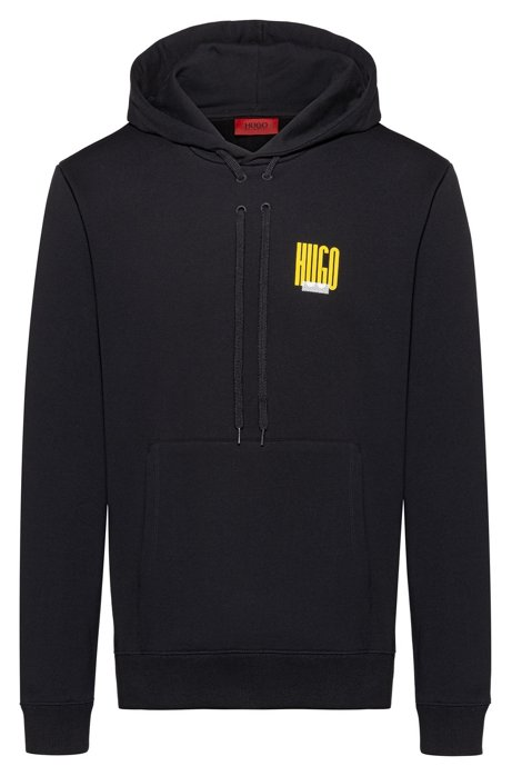 Relaxed-fit sweatshirt in pure cotton with collection artwork, Black