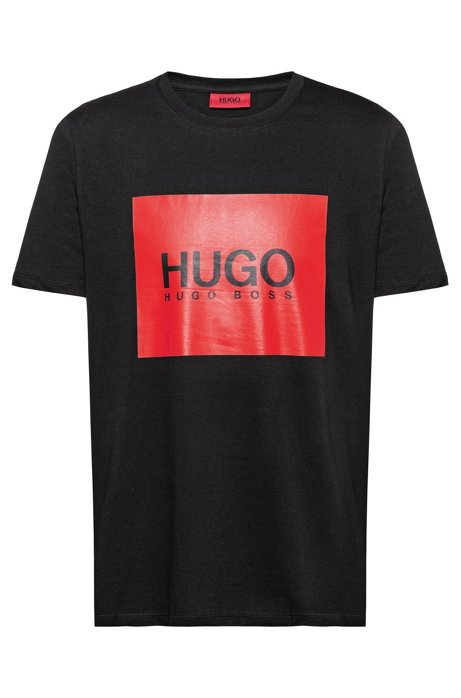 Regular-fit T-shirt in cotton with contrast logo square, Black